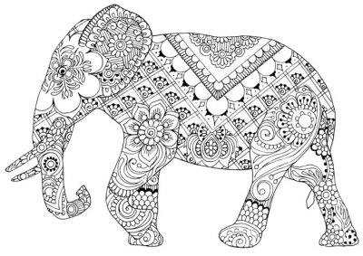 силуэт слона окрашены украшения в стиле mihendi