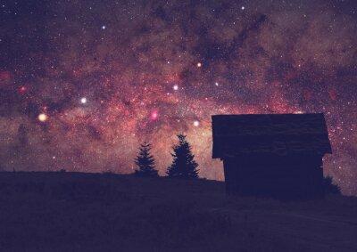 Картина Силуэты сельской местности с Млечного пути. Долго воздействия фото взяты из темной вершине горы.