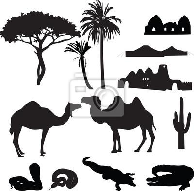 силуэты африканской пустыне