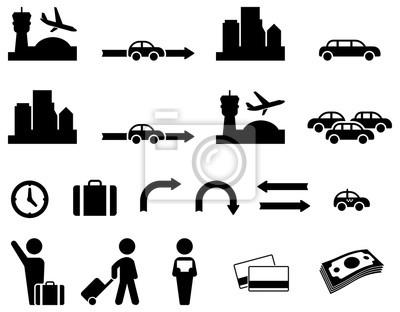 Простые иконки трансфер из аэропорта для вашего дизайна и применения.