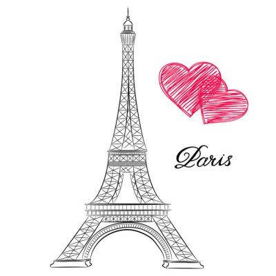 Картина эскиз Париж, Эйфелева башня с сердцем. Векторная иллюстрация