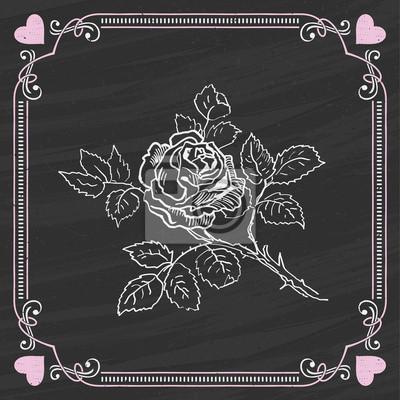 Эскиз розы на доске фоне. Валентинка.