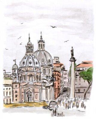 Картина Эскиз площади в Риме