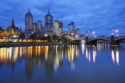 Картина Горизонты Мельбурне, Австралия через реку Ярра ночью