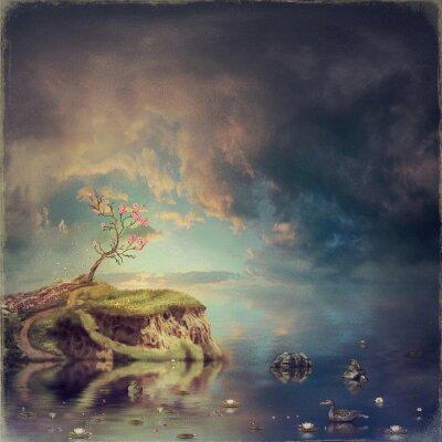 Картина Небольшой остров с деревом сакуры на реке