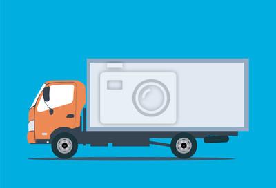 Газели для перевозки грузов. Плоский вектор стиль служба доставки иллюстрации концепции. Транспорт веб значок или элемент дизайна с американского тягача тянущего полуприцеп, вид сбоку, изолированные