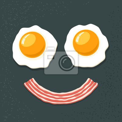 Улыбаясь завтрак. Два яичница и бекон. Забавный мультфильм Vecto