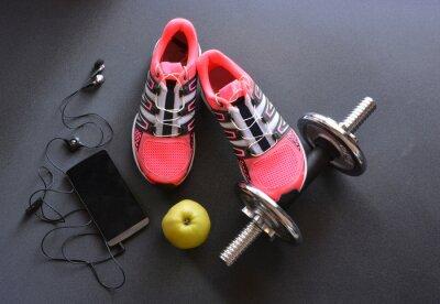 Картина кроссовки, одежда для фитнеса