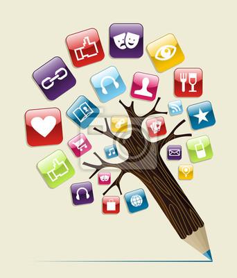 Социальные медиа концепция карандаш дерево