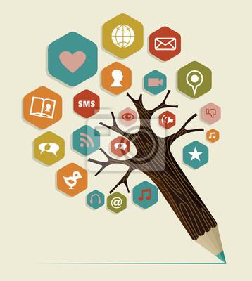 Социальные медиа плоским значок концепции дерево
