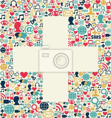 Социальные медиа плюс знак текстуры
