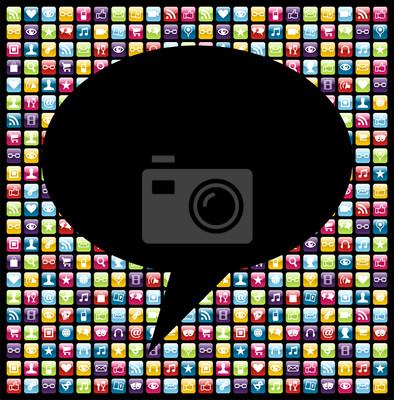 Социальные медиа значок смартфон приложение концепция