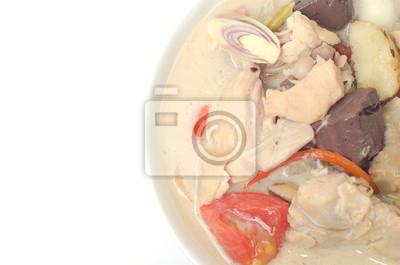 суп с курицей, корень Galanga и кокоса
