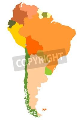 Картина Южная Америка - подробная карта