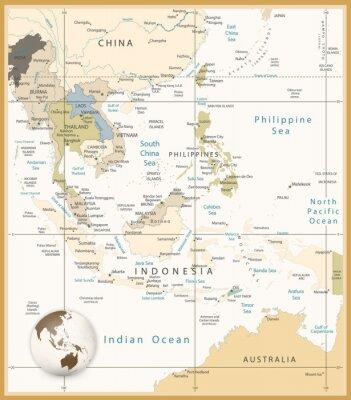 Картина Юго-Восточной Азии Подробная карта цветов Ретро