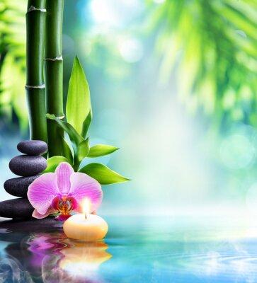 Картина Спа натюрморт - свечи и камень с бамбуком в природе на воде