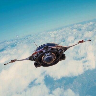 Картина Космический корабль на голубом небе