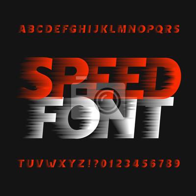 Скорость шрифта алфавит. буквы типа эффекта ветра и цифры на темном фоне. Вектор шрифт для вашего дизайна.