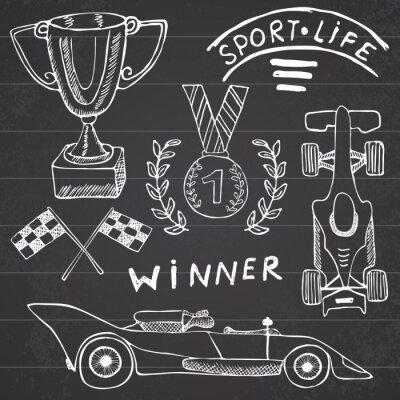 Картина Спортивный автомобиль предметы каракули элементов. Рисованной установить со значком флага. Изменчивая спортивные флаги или первое место Кубок премии. Медаль и поднимания автомобиля, расы векторные илл