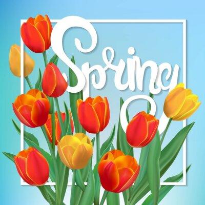 Картина Весна иллюстрация с тюльпанами и рамой.