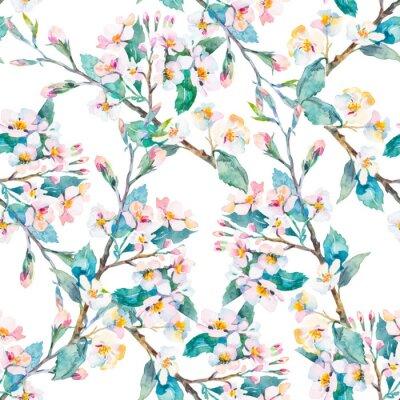 Картина Весна pattern.Flowering ветви. Акварель. Вектор.