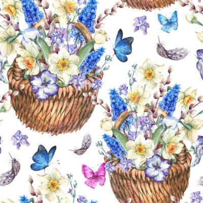 Картина Весна бесшовные модели с нарциссами в плетеных