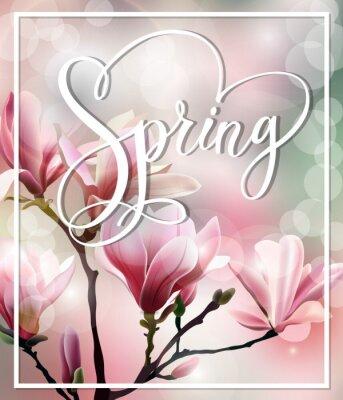 Картина Весна текст с цветущим бранч Магнолия с размытого эффекта. Весна фон. Шаблон Вектор.