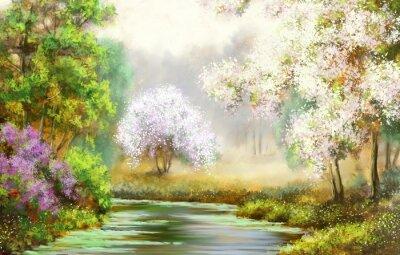 Картина Весна, дерево, река, пейзаж