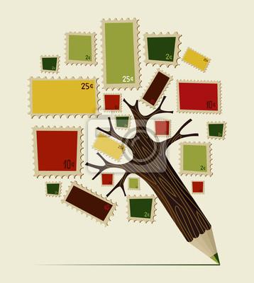 Печать значок карандаша дерево концепция