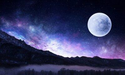Картина Звездное небо и луна. Смешанная среда