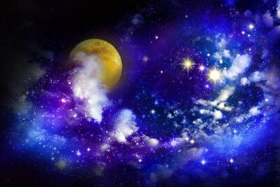 Картина Звезды и полная луна в ночном небе.