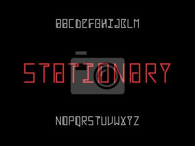 Stationary font. Vector alphabet