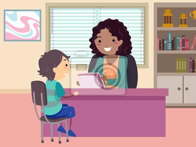 Stickman Kid Boy Guidance Counselor Illustration