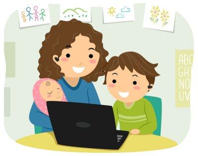 Stickman Kid Boy Mom Home School Illustration