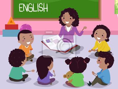 Stickman Kids Африка Учитель английского языка Иллюстрация