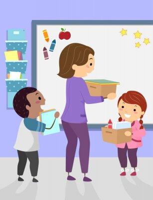 Stickman Kids Assist Teacher Carry Illustration