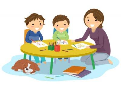 Stickman Kids Boys Home School Draw Illustration
