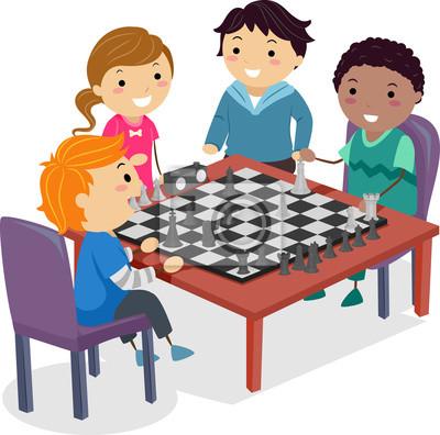 Практическая иллюстрация шахматного клуба Stickman Kids