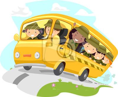 Иллюстрация автобуса лагеря скаутов