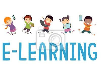 Stickman Kids Learning Иллюстрация
