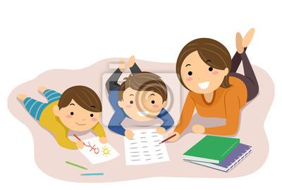 Stickman Kids Mom Home School Read Illustration