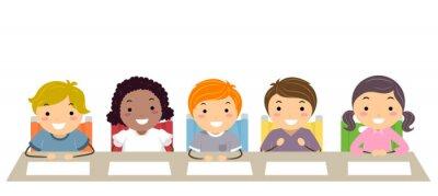 Stickman Kids Panel Table Judges Illustration