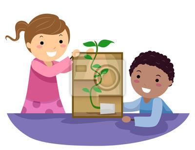 Stickman Kids Plant следуют за легким экспериментом