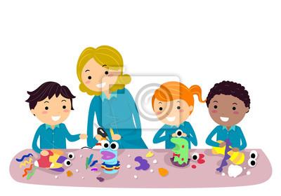 Stickman Kids Кукольный Мастерская Иллюстрация