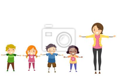 Stickman Kids Teacher Arms Sideward Иллюстрация