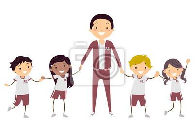Stickman Kids Teacher Uniform Illustration
