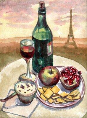 Картина Натюрморт в передней части Эйфелевой башни в Париже. Акварельная живопись