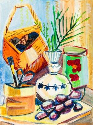 Картина Натюрморт на желтой ткани