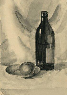 Картина Натюрморт с бутылкой и яблоком, акварель