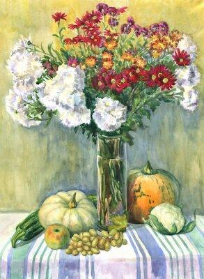 Картина Натюрморт с букетом цветов, фруктов и овощей. Акварельная живопись
